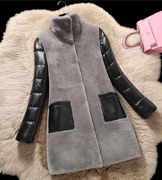Chic Womens Warm Faux Lambs Wool Coat Collar Pu Leather Jacket Winter Parka