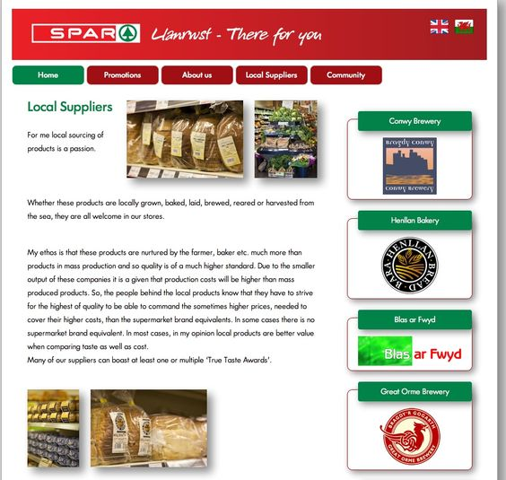 The local suppliers page for @SparLlanrwst