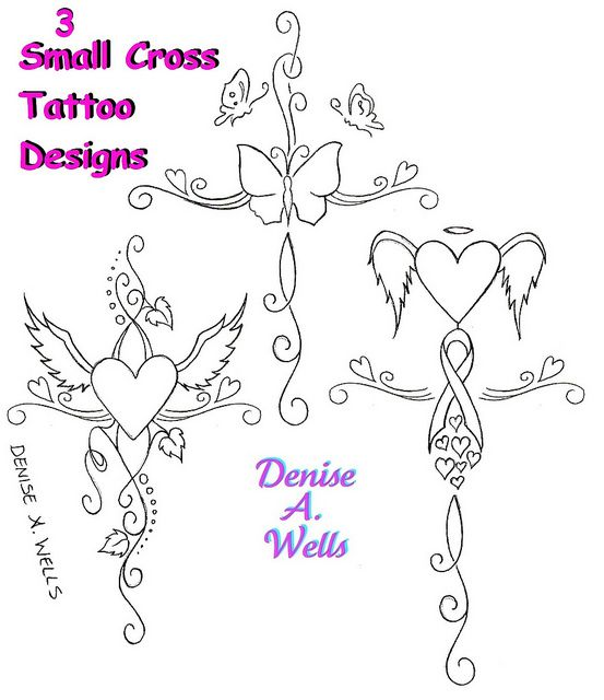 small girly cross tattoo designs by denise a wells by denise a wells via flickr tattoo. Black Bedroom Furniture Sets. Home Design Ideas