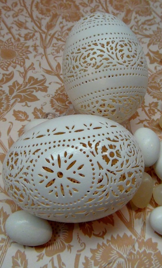 Two Hand Carved Victorian Lace Duck Eggs by theNestatWindyCorner, $110.00