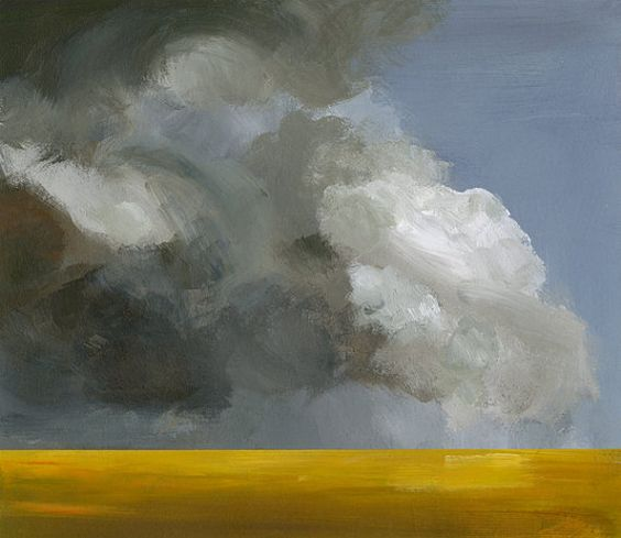 "Landschaft, Malerei, Kunst, Wand Dekor, abstrakt, Gold, grau-""Feld vor dem Sturm"" archival Querformat drucken"