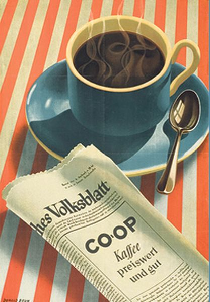 By Donald Brun, 1943, Coop Kaffee.: