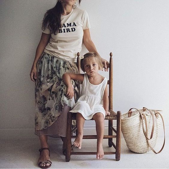 Mae woven market bag and mama bird tee. Mama daughter. @maewoven on Instagram.: