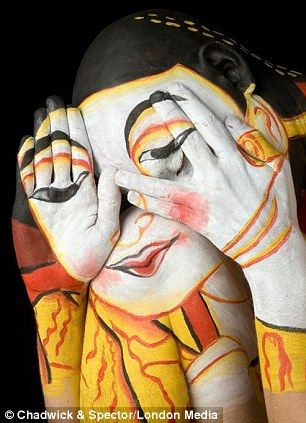 Body art: Lanna Woman (Wat Umong) is painted on the body of Chadwick Gray by artist Laura Spector