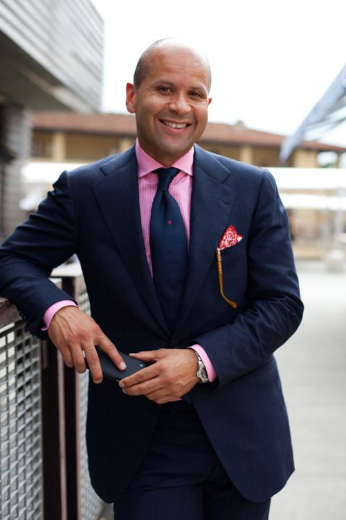 navy suit, pale pink shirt, striped tie | Navy, White, Magenta