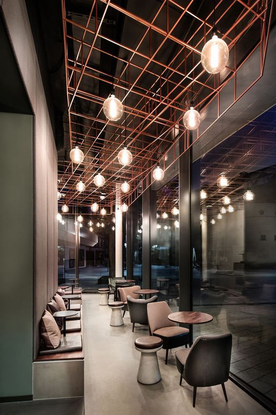 Best Interior Designs Inspired by Luxury Restaurants Bar ceilings Copper interior Cafe design