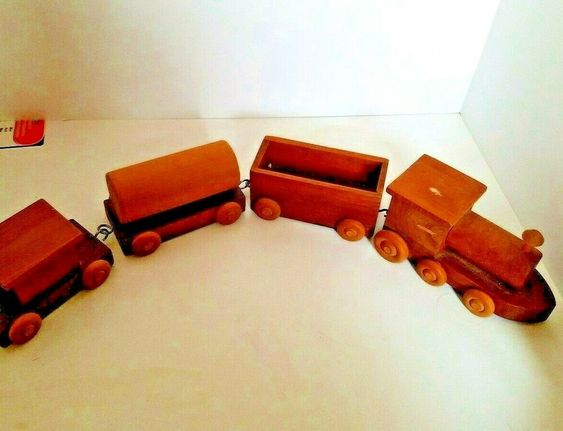 Wooden 4 Car Train Hand Made Engine Caboose Open Car Oil Car Unbranded In 2020 Wooden Toy Train Wooden Train Set Opening Car
