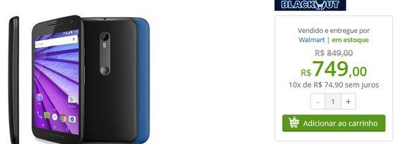 Motorola Moto G 3ª geração Colors XT1550 Preto Dual Chip 4G 16GB de memória << R$ 74900 em 10 vezes >>