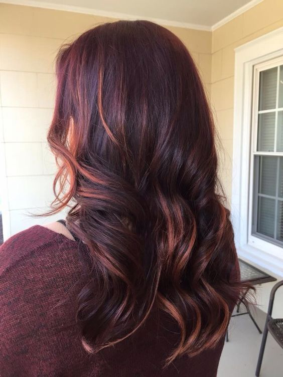 Merlot and copper highlights  #lussohairstudio: