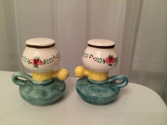 Vintage Ceramic Oil Lamp Salt and Pepper Shakers Japan - Sale