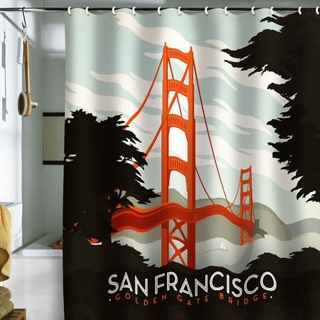 Shower Curtains cool shower curtains for guys : Vintage travel posters made into shower curtains - sale at fab.com ...