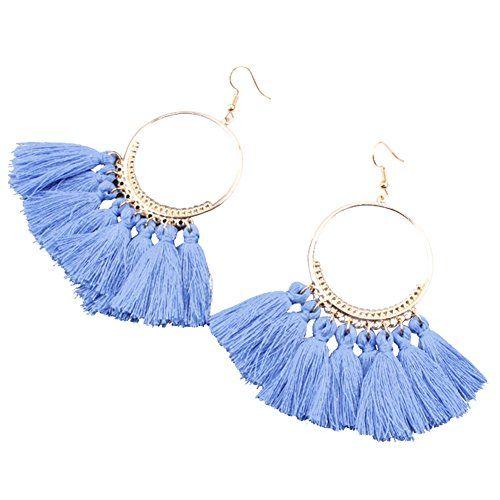 Femmes Boho métal pampilles libellule or grand cercle Stud Drop Dangle Earrings