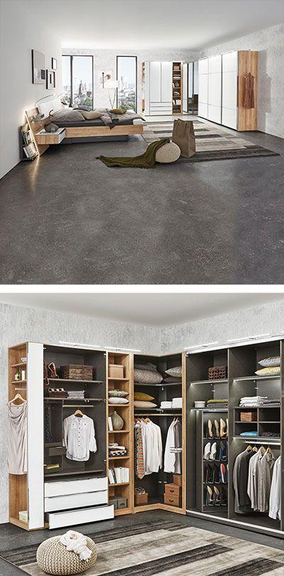 Kleiderschrank In Grau Weiss Eckschrank Schlafzimmer Eckschrank Eckkleiderschrank