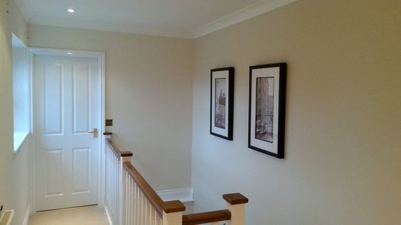 Ceiling & coving finished in Dulux Trade Vinyl Matt Pure Brilliant White, Walls in Dulux Trade V/Matt Natural Calico and Nat' Hessian (feature stair wall) and woodwork in Dulux Trade High Gloss Pure Brilliant White
