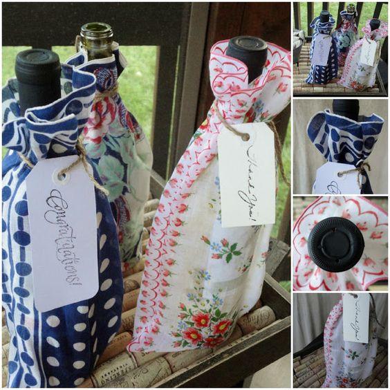 Vintage Hankie Wine Bag find vintage hankies @ www.nanaluluslinendsanhandkerchierfs.com