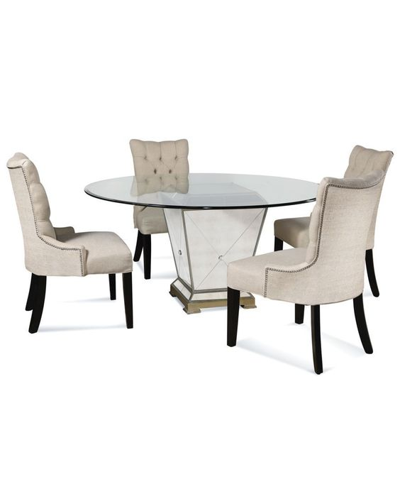 """Marais Dining Room Furniture, 5 Piece Set (54"""" Mirrored Dining Table and 4 Chairs)"""