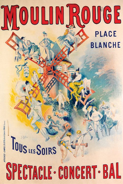 Vintage Moulin Rouge Paris Poster Wall Art Print in various size re-prints