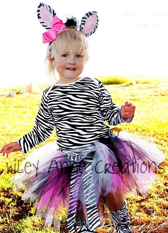Custom Boutique Zebra tutu set Halloween costume birthday parties Photo shoot 12 18 months 2t 3t 4t 5t 6. $85.00, via Etsy.