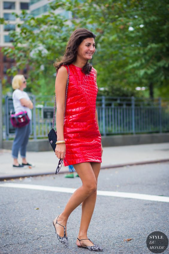 Red Leather Dress Miu Miu Street Style: