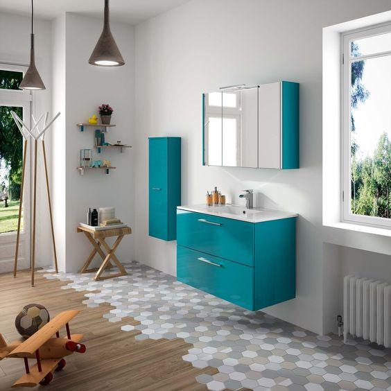 Meubles de salle de bains cedam gamme laura d cor bleu - Refaire sa salle de bain soi meme ...