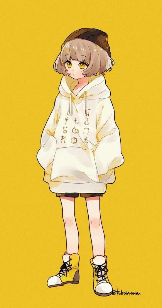 Yellow Background Cute Anime Character Anime Art Girl Anime Chibi