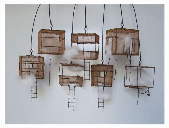 Isabelle Bonte - échappée belle 7 éléments fil de fer, tarlatane teintée & nuage ~ H 6 X 6 X 6 cm + petites perches