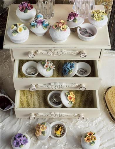 Lidded Floral Porcelain Boxes | Porcelain Bisque Trinket Box