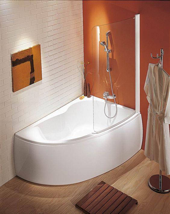 Baignoire d 39 angle avec douche salle de bain pinterest lieux Baignoire douche angle