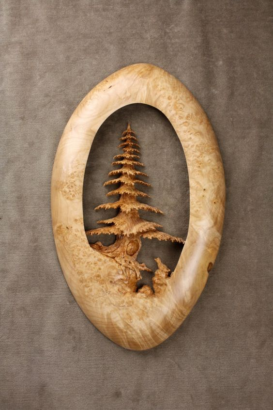 Tree wood carving sculpture christmas present carved by