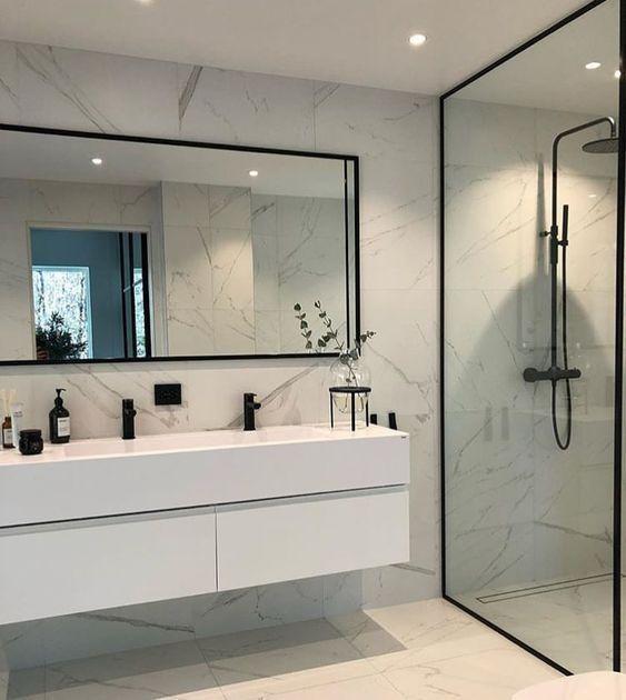 Modern Scandinavian Bathroom Interior In White Interior Design Ideas Home Decorating Inspiration Modern Bathroom Design Minimalist Bathroom Modern Bathroom