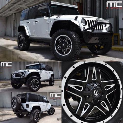 """Jeep Wrangler Rubicon with custom painted black top, smittybuilt front and rear bumpers, LED roof and front light bar. Electric Side steps, custom hood, custom interior, and audio upgrade. Custom finished grille, mirrors, and handles, ECU upgrade with intake and exhaust. Sitting on 20"""" @fueloffroad custom finished wheels and 35"""" FUEL tires. Jeep built for Chicago White Sox pitcher Ronald Bellisario @bely51 #fuel #jeep #jeeps #offroad #fueloffroad #fuelwheels #mlb #baseball #ronaldb..."""