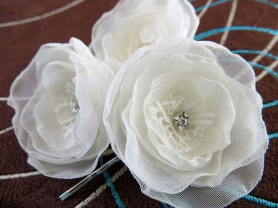 Ivory wedding bridal flower hair clips set of 3 by LeFleurShop