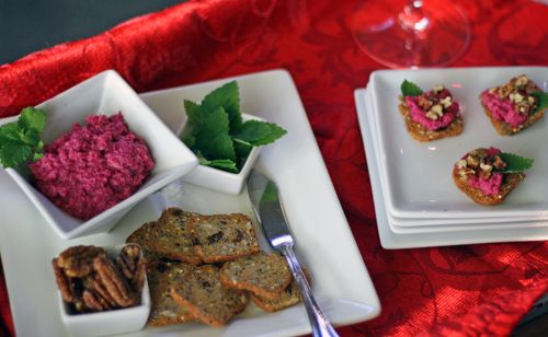Apple and Beet Dip with Mint and Candied Pecans from Megan of Megan's Cookin'