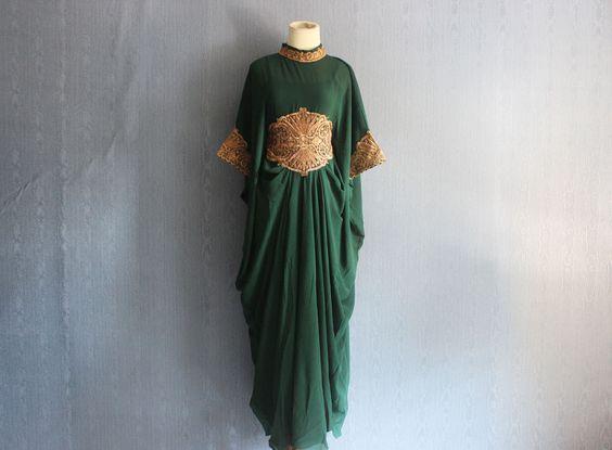 Dark Green Gown Caftan Dress Handmade Abaya Maxi Kaftan by Yosika