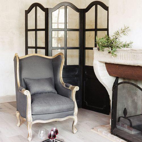 Fauteuil berg re en lin taupe gris chambre parents for Housse de fauteuil bergere