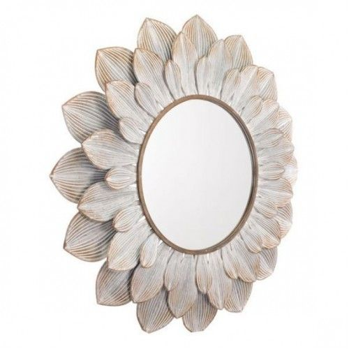 Round Metal Double Petal Flower Wall Mirror Floral Mirror Brown Wall Mirrors Mirror Decor