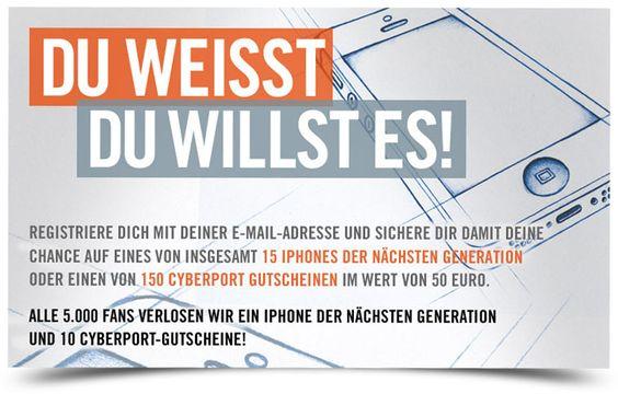 Gewinne eines von 15 neuen iPhones! Wie? Einfach Link klicken und Registrieren...Viel Glück! https://www.facebook.com/Cyberport.DE/app_482048448472871