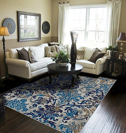 Contemporary Distressed Area Rugs For Living Room 8x10 Blue Large