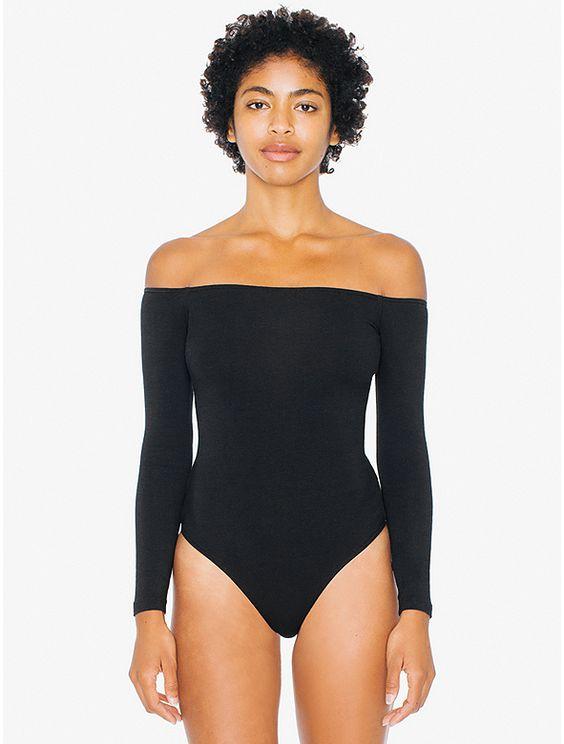 Cotton Spandex Off-Shoulder Long Sleeve Bodysuit