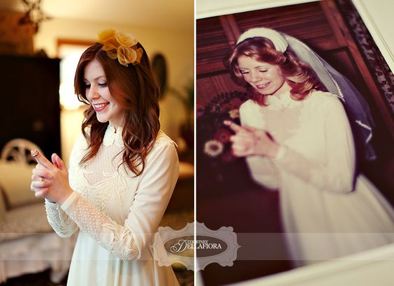 amazing photo recreation. Mother and daughter wedding tradition.