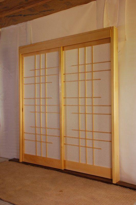 DIY shoji screen sliding doors in the hallway, made from leftover ...