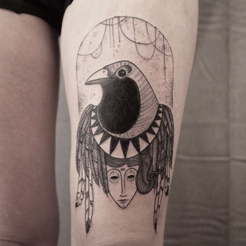 The-crow! So glad to did this old illustration  more project like that please ❤️ done @toe_loop_tattoo_berlin #tattoo #tatouage #toeloopberlin #anawork #berlin #crowtatoo #blackworkerssubmission #blackarttattoo #girltattoo #corbeau #blacktattoo #chamantattoo #tattootight #anaworktattoo #black #ink #inked (à Toe Loop Tattoo)None
