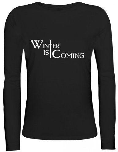 Shirtstreet24, SCHWERT WINTER IS COMING, Lady / Girlie Longsleeve Langarm T-Shirt: Amazon.de: Bekleidung