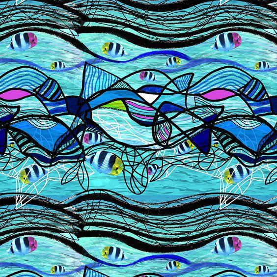 Estampado azul peces / Blue fish pattern by isamartierra