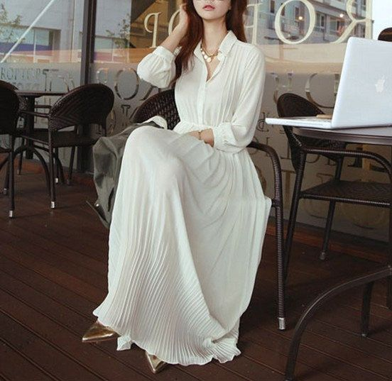 White Chiffon Pleated Maxi Skirt