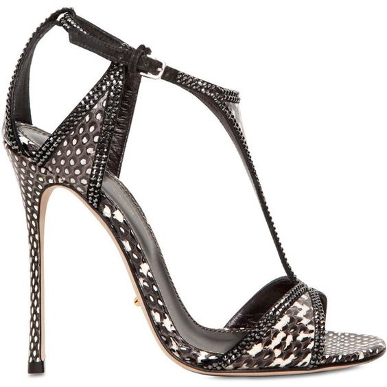 SERGIO ROSSI 110mm Elaphe Swarovski Sandals