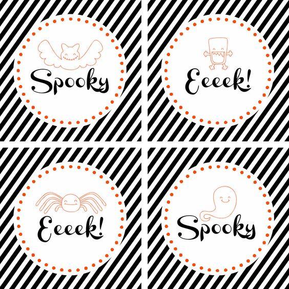 Free Halloween {printable} treat or cupcake toppers via @sweetrosestudio - so spooky cute!
