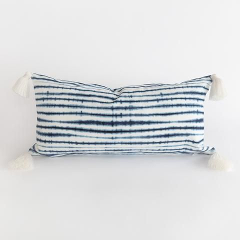 Stella Shibori Indigo Tassel Pillow From Tonic Living Pillows Summer Pillows Stripe Pillow