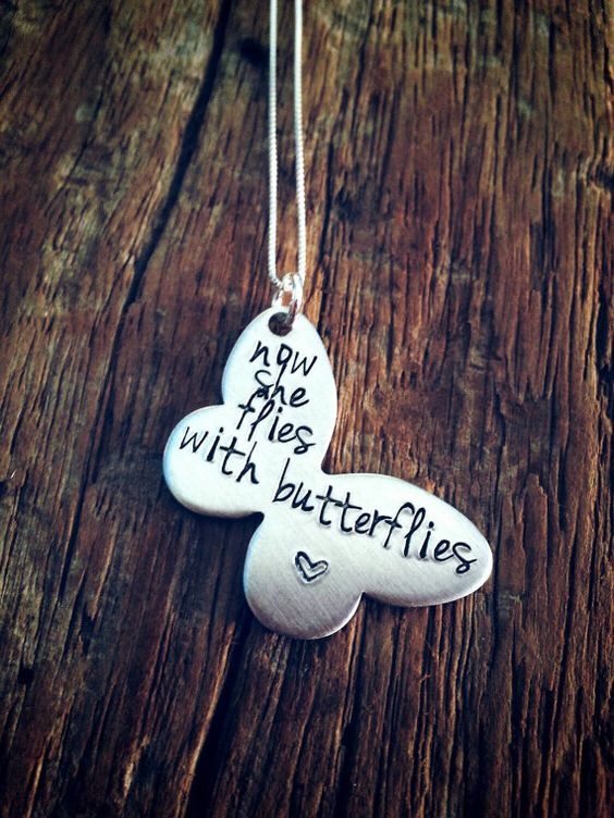 Let this 1 inch beautiful butterfly necklace symbolize someone important in your life who has passed away. This piece comes hand stamped