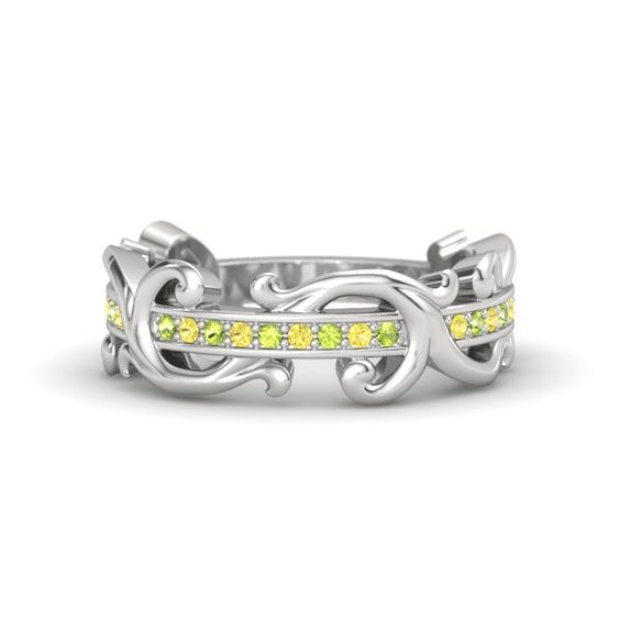 Sterling Silver Ring with Yellow Sapphire & Peridot - Atlantis Band | Gemvara